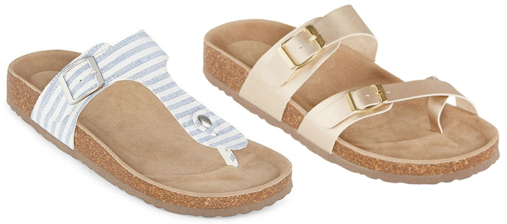two pairs of womens footbed sandals in white abd blue stripes and metallic gold