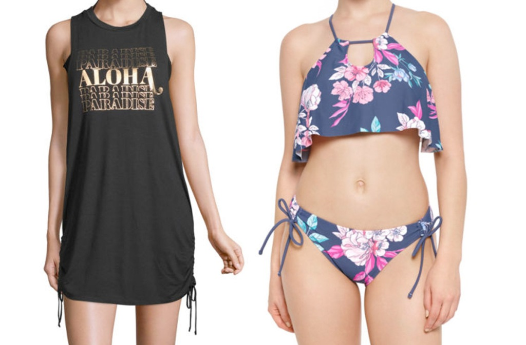 women modeling black swim coverup dress and blue/pink floral two piece bathing suit
