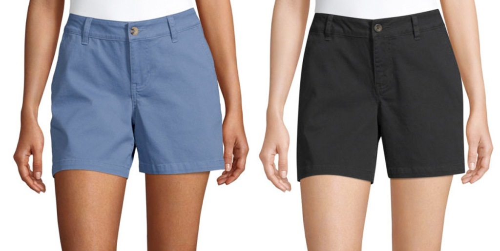 two women modeling chino shorts in solid blue and black colors