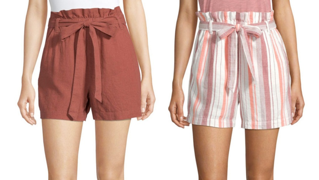 two women modeling shorts with bow ties at waist in burnt orange color and pink and white strips
