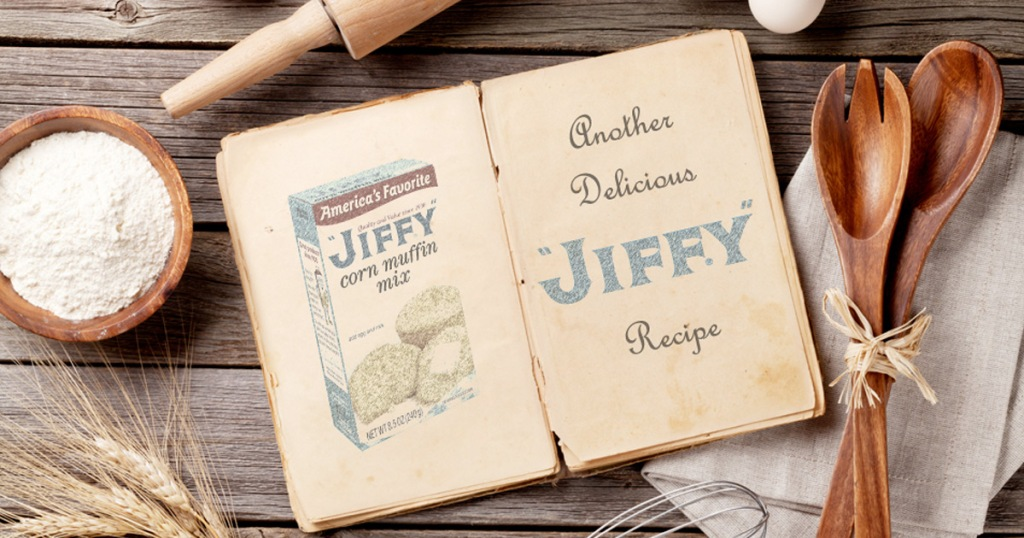 jiffy mix recipe book open on table surrounded by kitchen utensils
