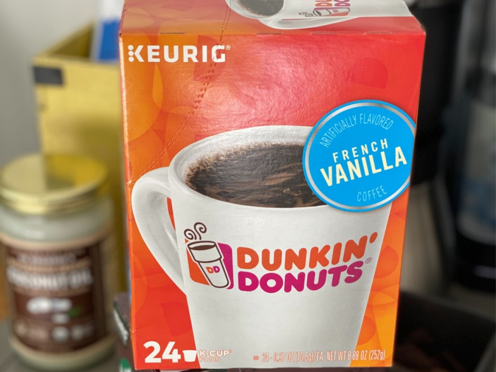 box of Dunkin Donuts coffee pods in home