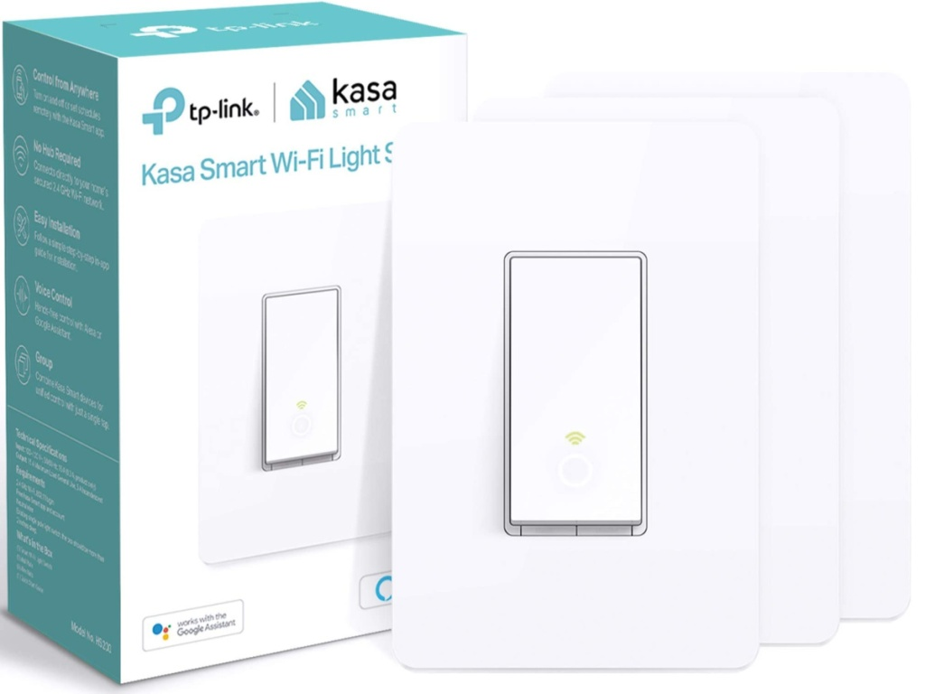 3-pack of Kasa Smart wifi light switches and a box