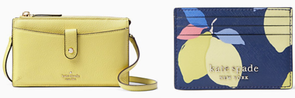 Kate Spade yellow crossbody and small wallet with lemons