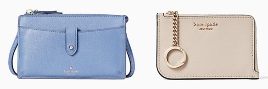 small blue kate spade crossbody purse and light tan wristlet