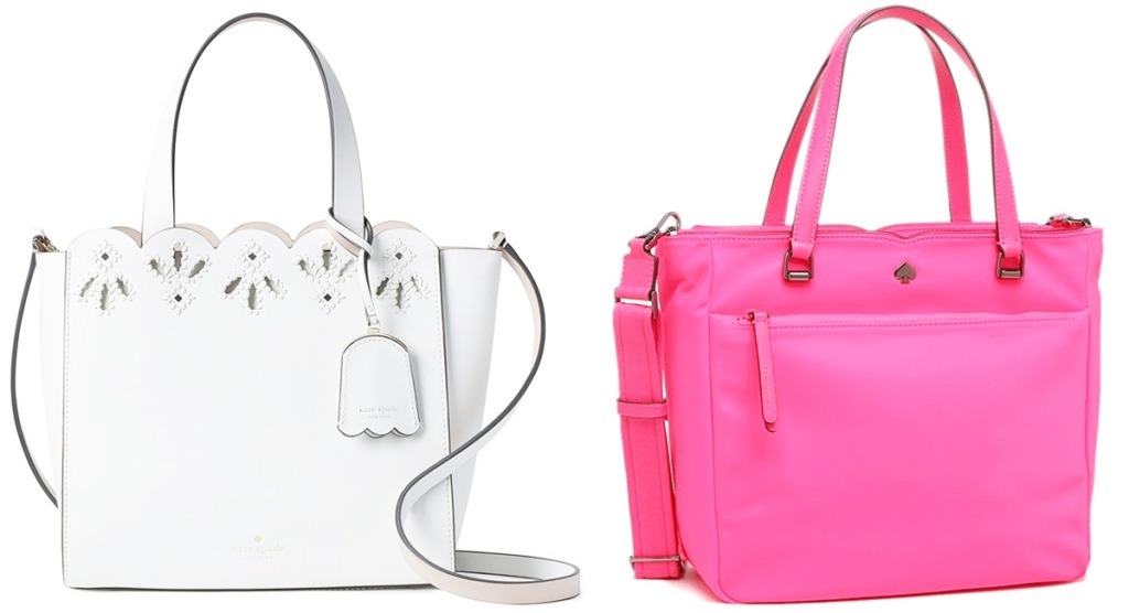white leather kate spade purse with scallop trim and bright pink kate spade purse with zipper front pocket