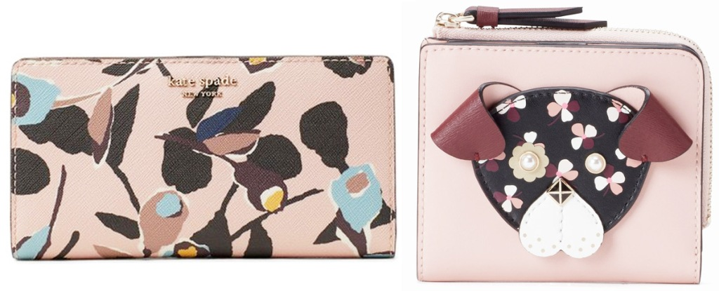 pink floral print bi-fold wallet and small pink wallet with floral print don on front