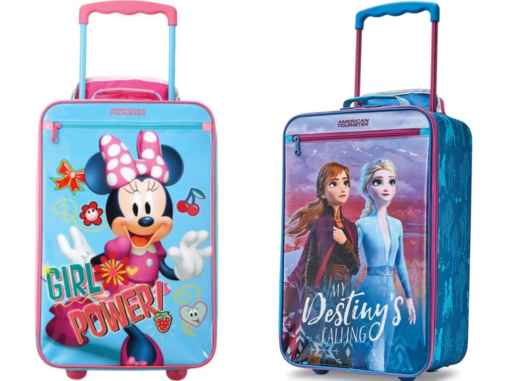 Minnie Mouse Suitcase and Frozen Suitcase sitting next to each other