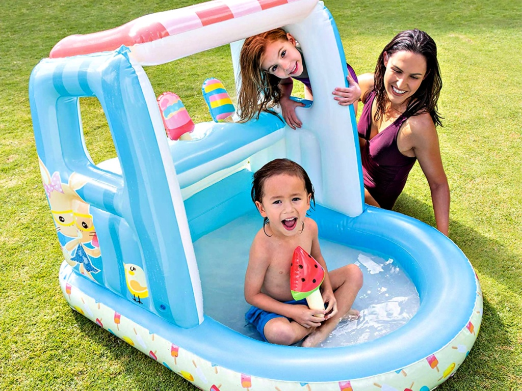 Kids playing Intex Ice Cream Stand Inflatable Playhouse and Pool with mom