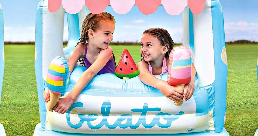Kids playing Intex Ice Cream Stand Inflatable Playhouse and Pool