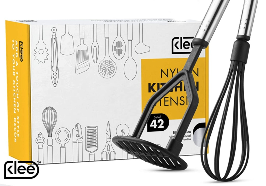 Klee 42 count kitchen set box set with potato masher and wisk