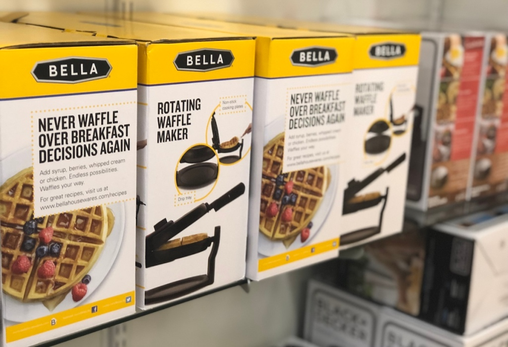 row of boxes of waffle makers