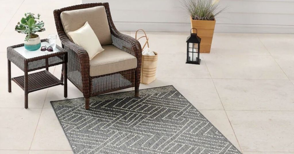 outdoor patio rug and wicker chair