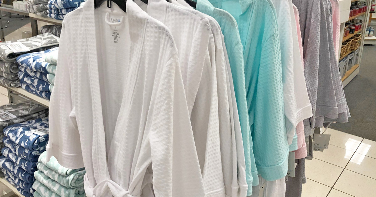 store display rack of womens bath robes