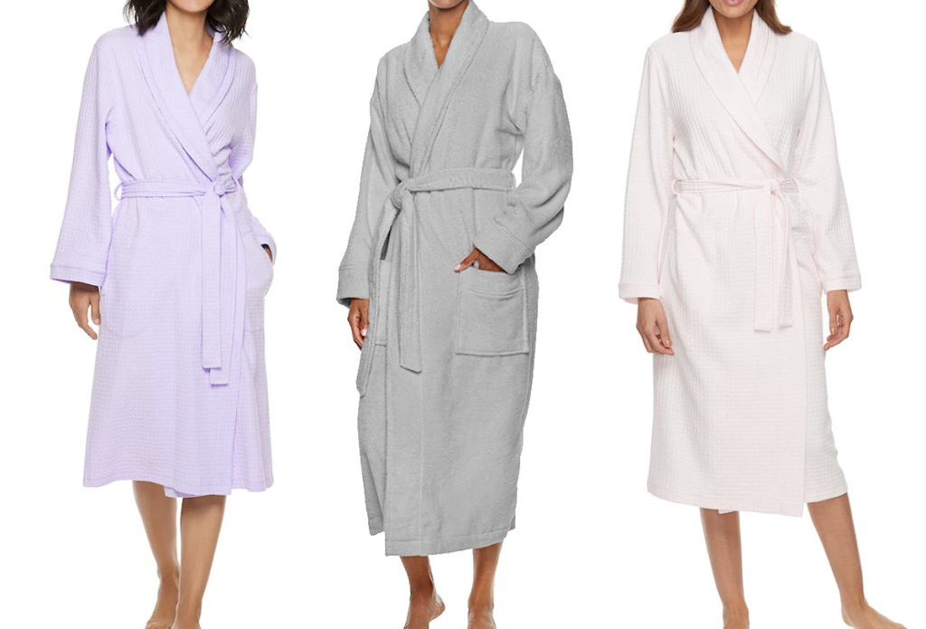 three women modeling bath robes in lilac, grey, and light pink colors