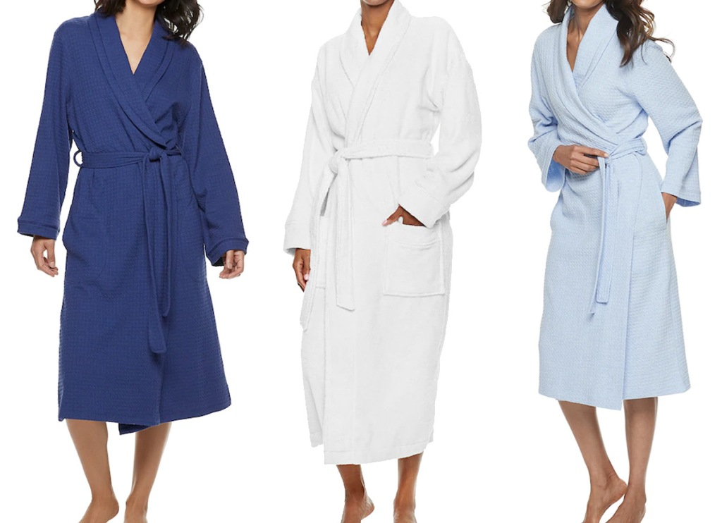 three women modeling bath robes in navy, white, and light blue colors