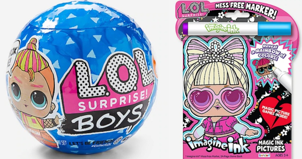 L.O.L. Surprise! Boys Series Ball next to Magic Ink Book