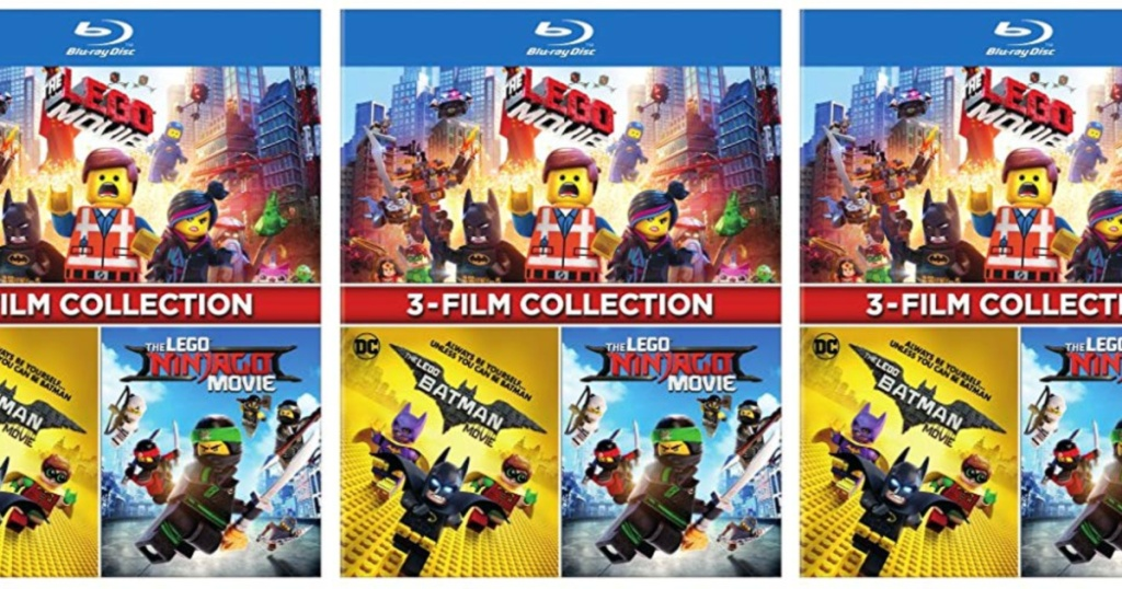 3 LEGO 3-Film Collection DVDs lined up next to each other