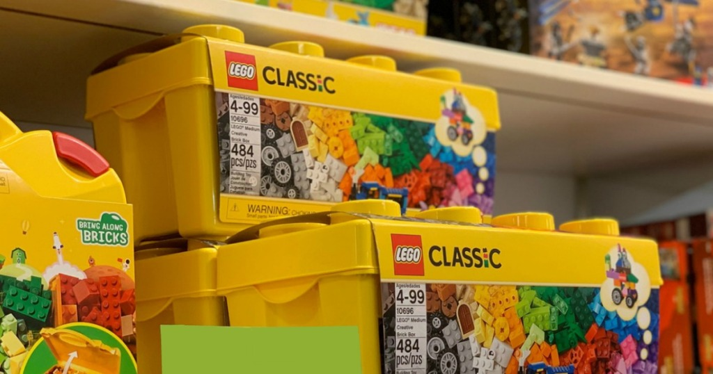 boxes of LEGOS on a store shelf