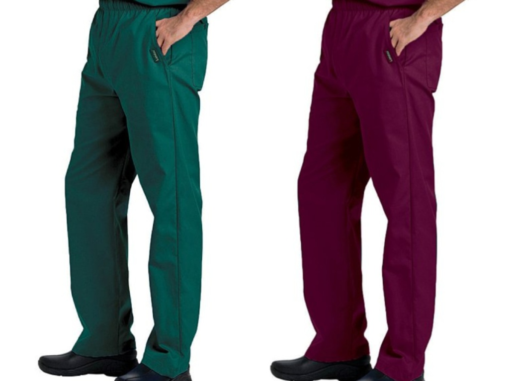 Two men standing next to each other wearing green and burgundy scrubs