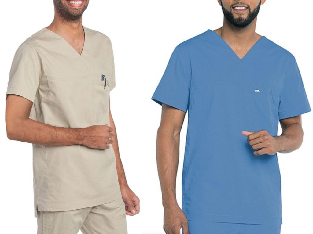 two men wearing short sleeve scrub tops