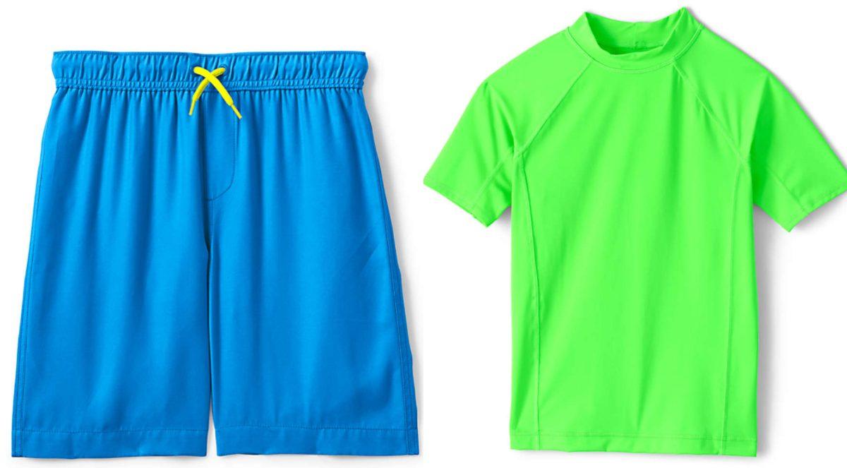 boys bright blue swim trunks and boys bright green rash guard