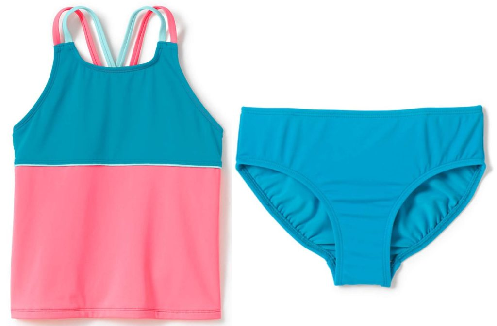 girls pink and blue tankini and girls blue swim bottoms