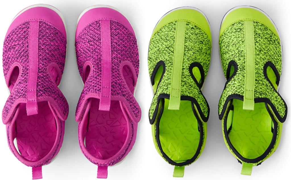 pink kids water shoes and neon green kids water shoes