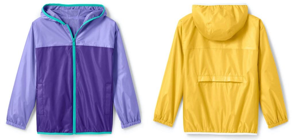 kids purple rain jacket and kids yellow rain jacket