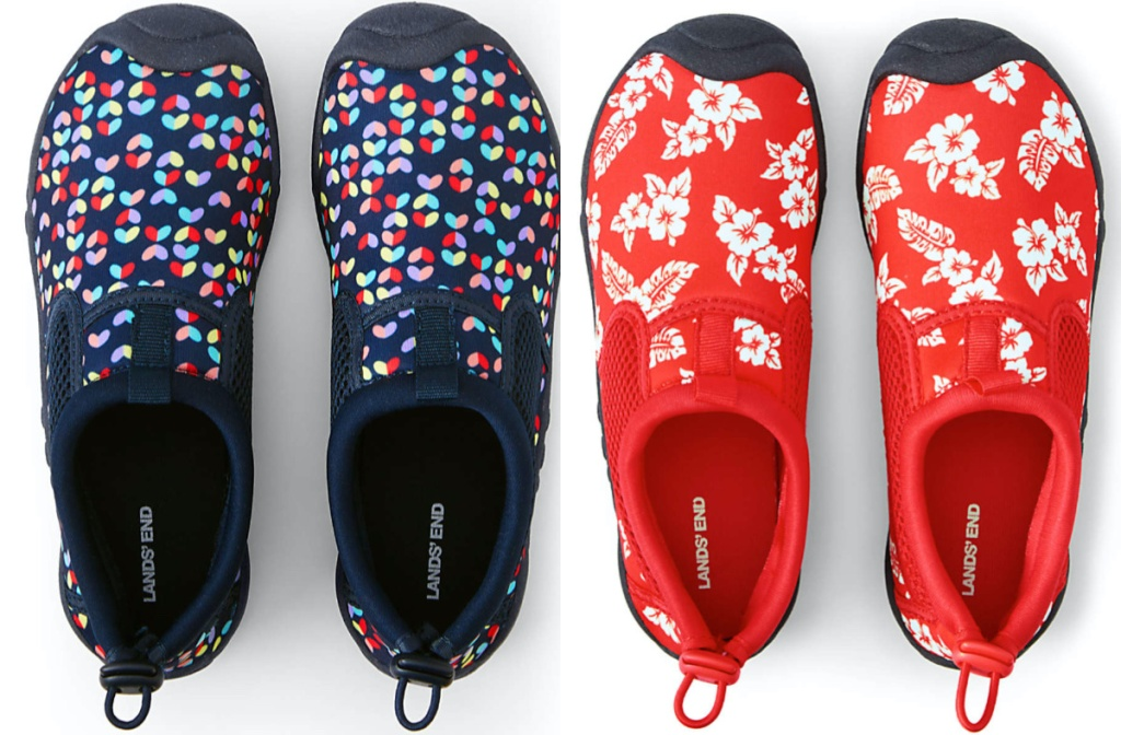 kids blue multi-colored heart water shoes and kids red and white flower water shoes