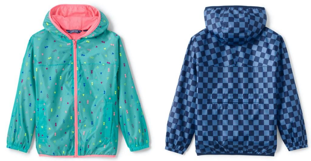 kids teal and pink print rain jacket and kid blue checkered rain jacket