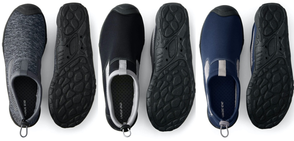 men's grey water shoes, men's black water shoes, and men's blue water shoes