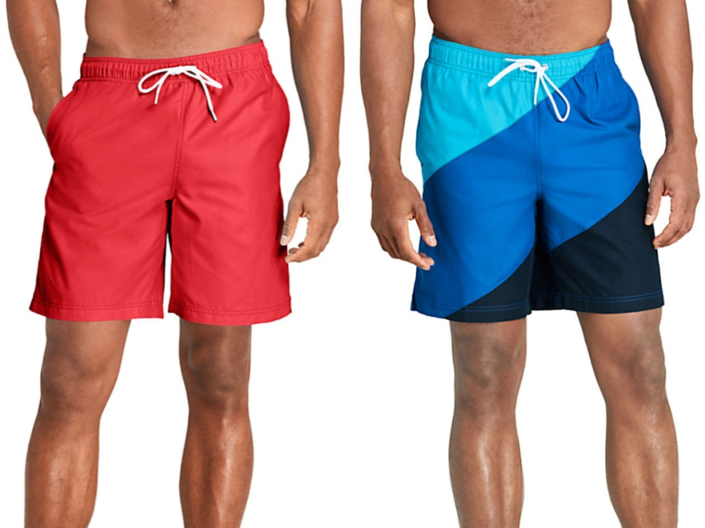 man in bright red swim trunks and man in blue and black color block swim trunks