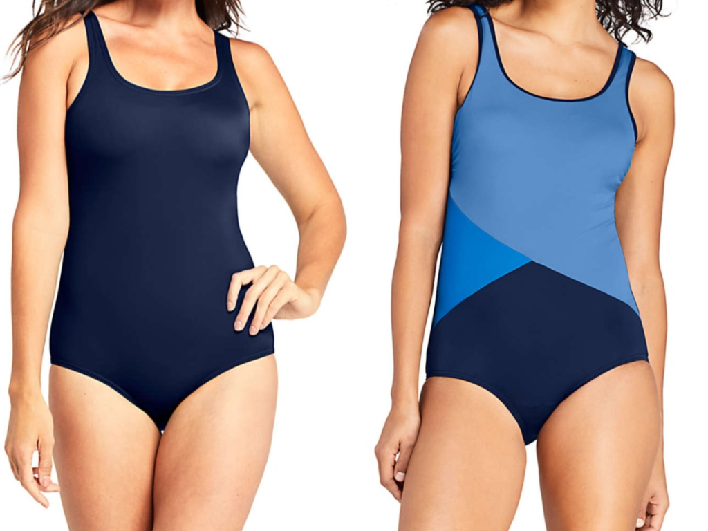 woman in dark blue one-piece swimsuit and woman in three shades of blue one-piece swimsuit