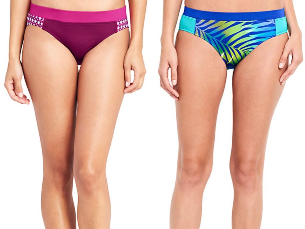 woman in pink and purple swim bikini bottom and woman in blue and green pattern bikini bottom