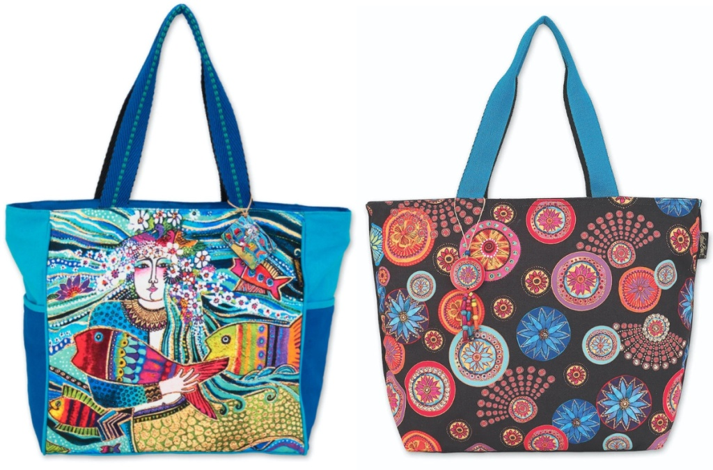 Laurel Burch Mermaid Mural Fish Flowers X-LARGE Tote Bag Outer Pockets Nw 2020