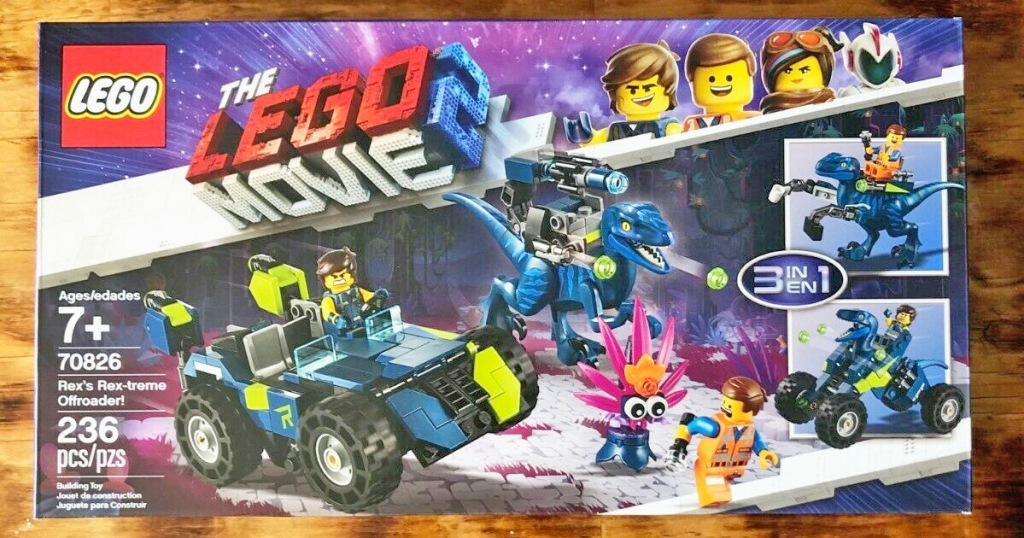 box for lego movie 2 rex's extreme offroader build set on hardwood floor