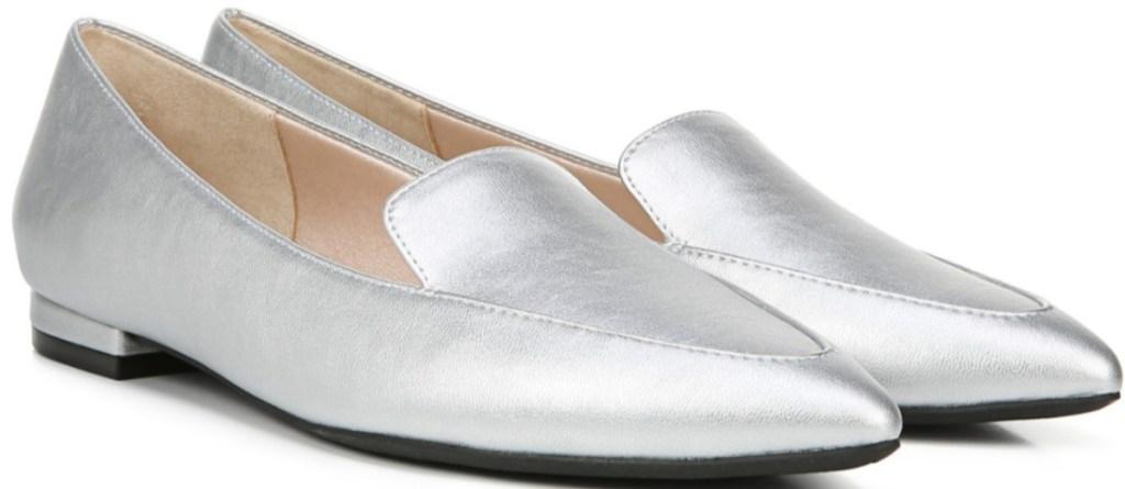 women's silver slip-on flats shoes