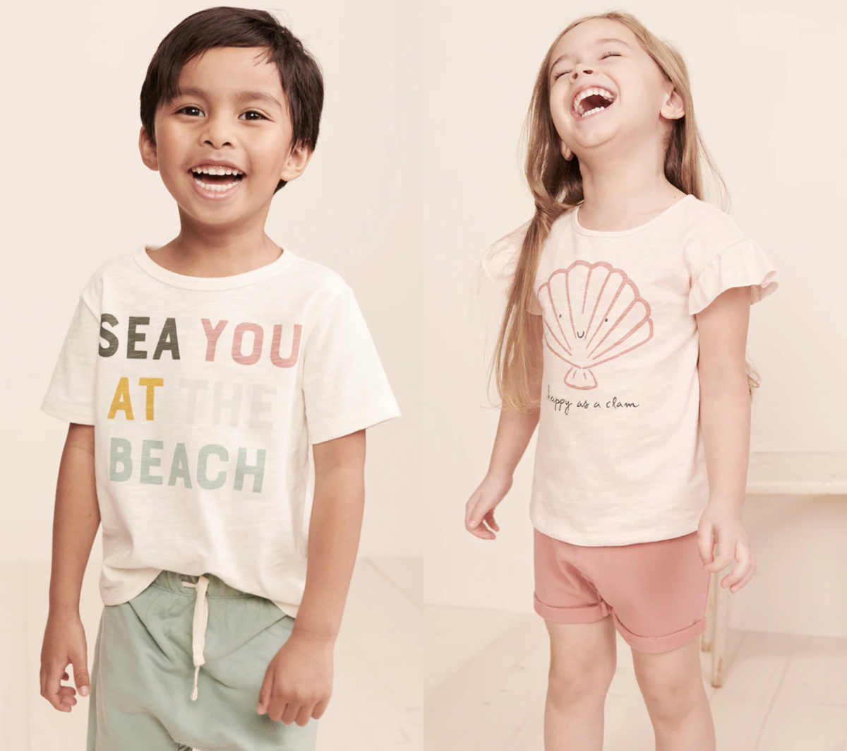 girl wearing pink clam shirt and boy wearing sea you at the beach shirt