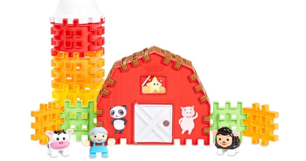 kids interlocking blocks farm set