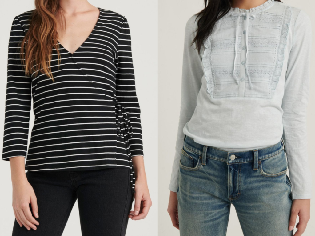woman in black and white striped top and woman in light blue top