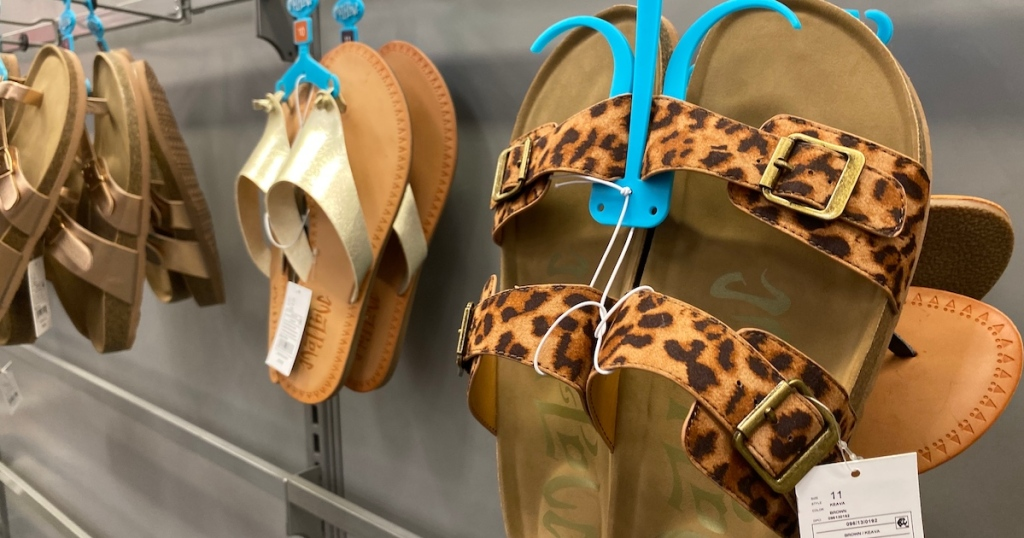 leopard pair of Mad Love Brown Women's Keava Double Band Footbed Sandals