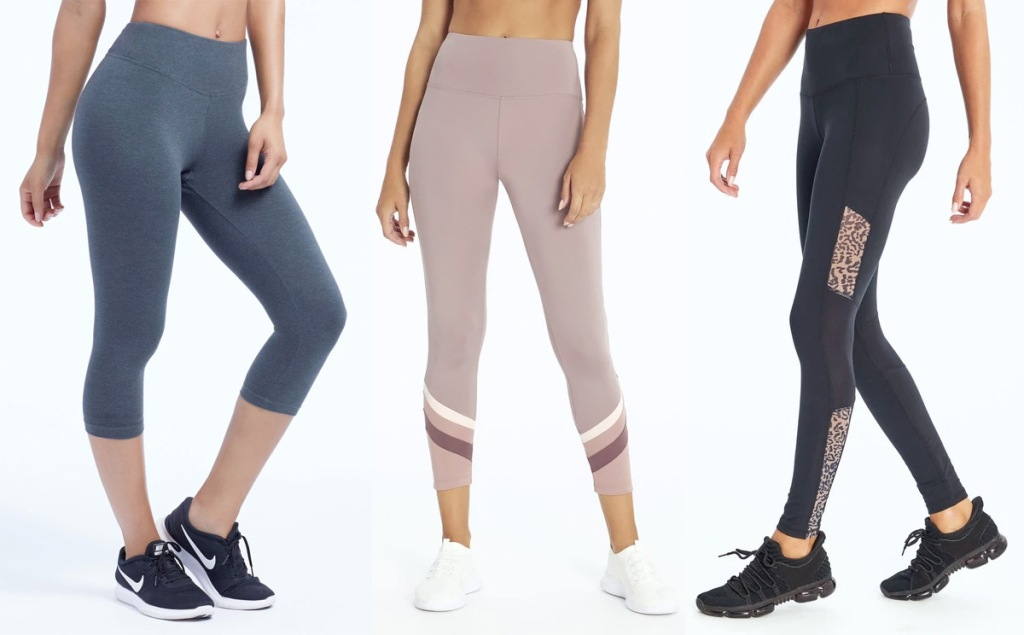 three women modeling pairs of leggings in different styles
