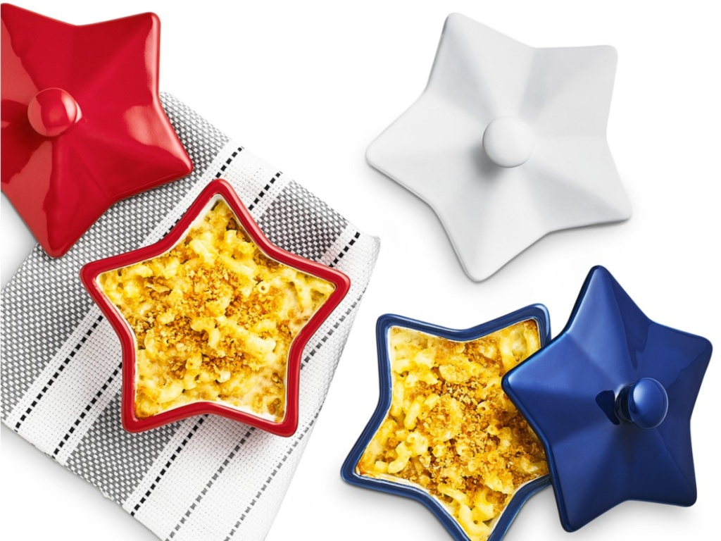 red, white, and blue star shaped cocottes from martha stewart on top of tea towel