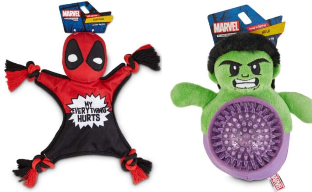 two different super hero themed dog toys