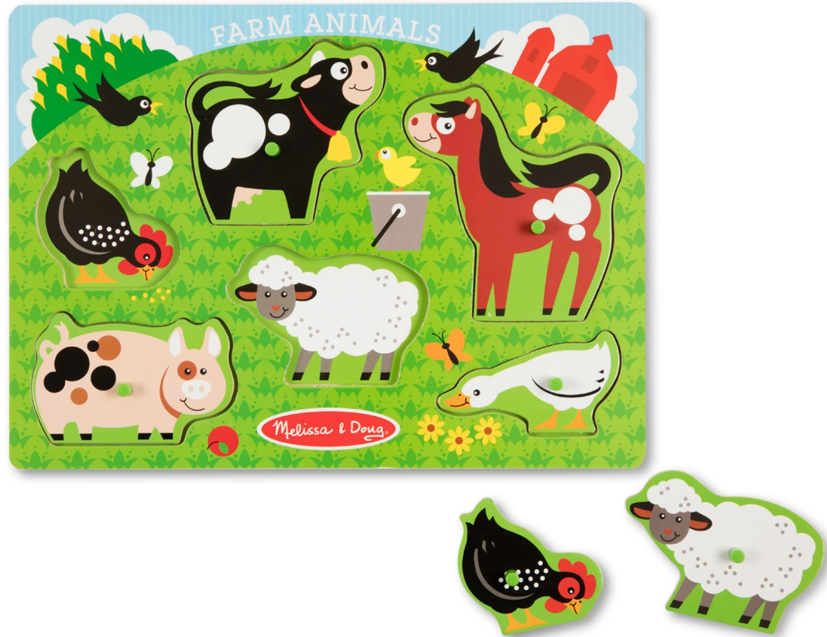 Farm animal puzzle with wooden pieces