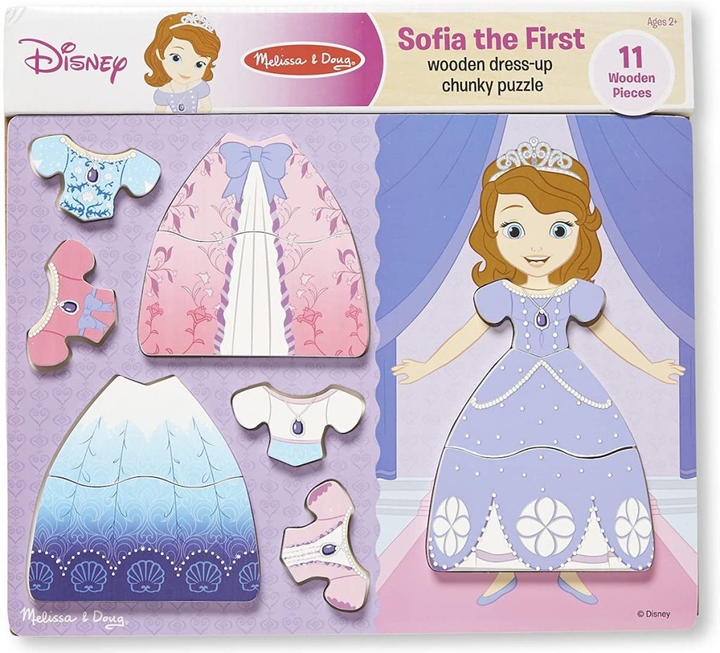 Melissa & Doug Sofia the First Wooden Dress-Up Chunky Puzzle set