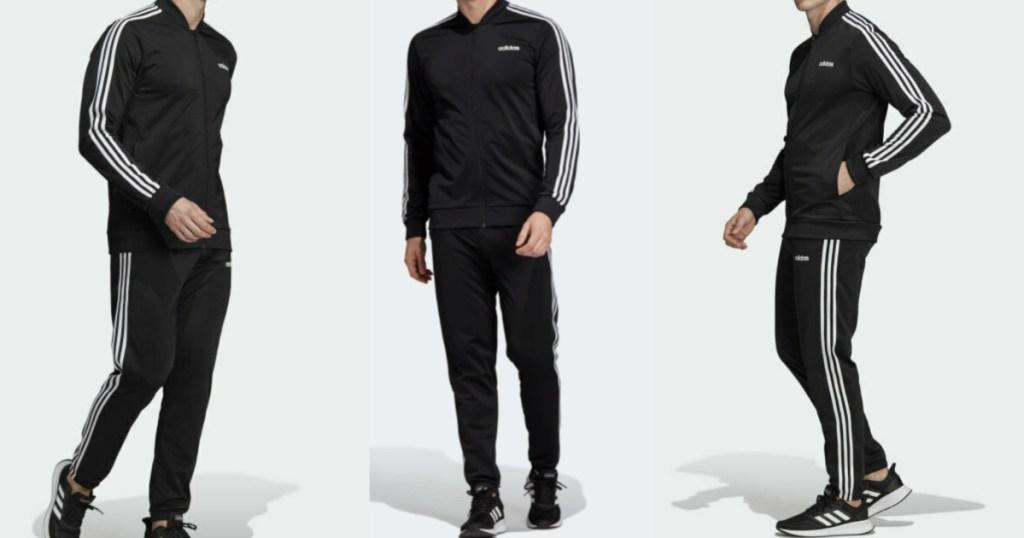 man wearing an adidas 3-stripe track suit
