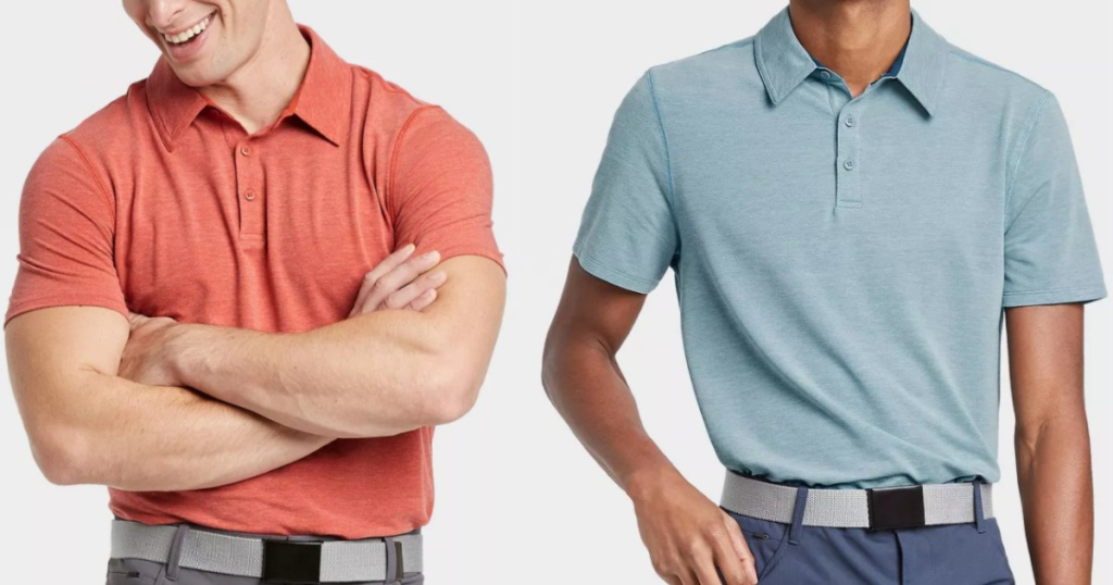 2 men wearing colorful pique polo shirts