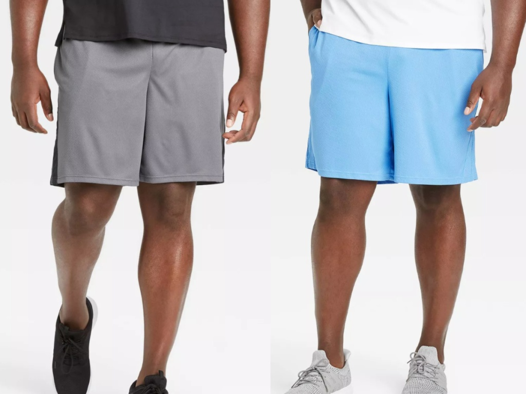 2 men standing next to each other wearing activewear shorts